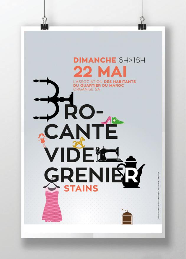 affiche brocante de la ville creation aline saussier graphikalegria