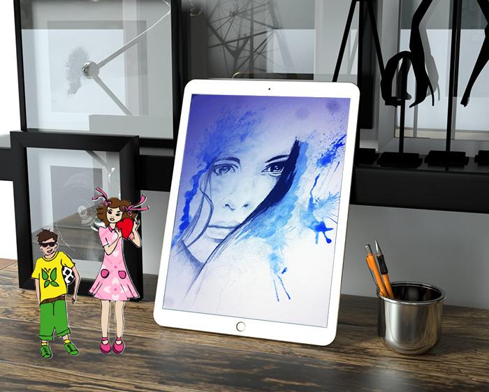 illustration dessin vectoriel ou au crayon de papier et aquarelle