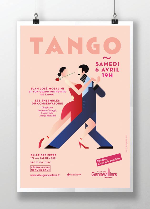 affiche-gennevilliers-tango-danseur-illustration-conservatoire - orchestre