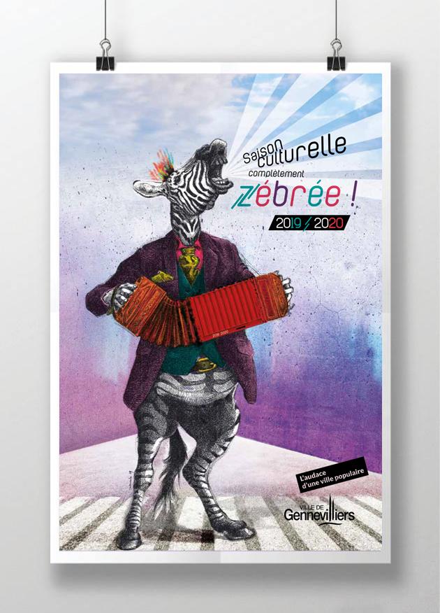 affiche-saison-culturelle-zebre-gennevilliers-2020-graphisme-saussier-illustration-zebree-contener-bandoneon-ville