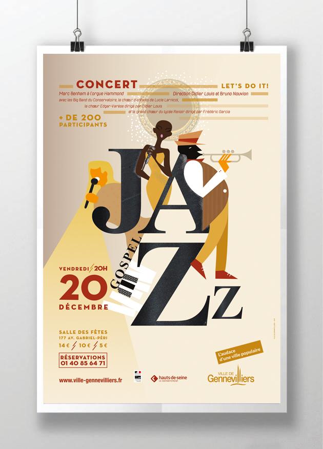 affiche -gennevilliers- concert- jazz- gospel graphisme aline saussier